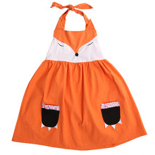 Summer Fashion Cute Baby Girls Cartoon Fox Strappy Sleeveless Dress Kids Clothes Orange Princess Party Baby Girl Dress 2-7Y