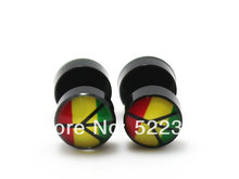 50pcs free shipping piercing body jewelry 8mm black acrylic rasta peace logo picture fake earrings ear plug cheaters