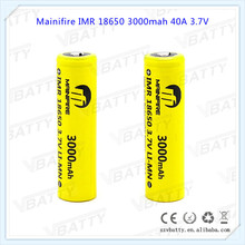 Mainifire IMR 18650 3000mah 40A vaping 18650 40a ecig box mod battery 3.7v 3000mah long lasting battery with Button top(1pc)(China)