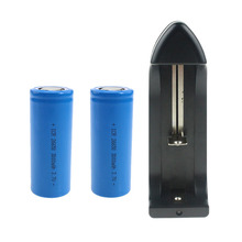 1pcs 26650 Blue Battery Plus 1pcs Charger For 2*Real Capacity 3000mah 26650 Li-ion Battery +1*NK-806 Single Slot Charger