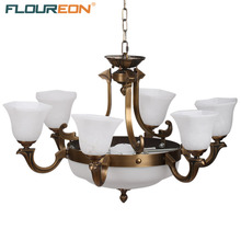 Floureon 6+3 Lights Pendant Lamp,Retro European-Style Pendant Light,Solid Brass Construction,Antique Brass Finished Glass Shade(China)