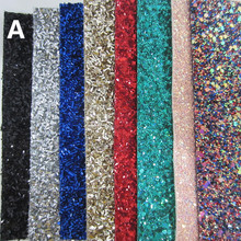 8pcs A6 sheet 10x15cm 3D chunky glitter PU leather fabric material for DIY,project CN063(China)