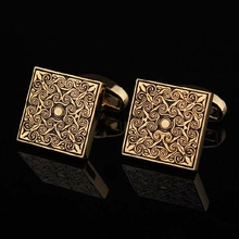 High Quality Men Cuff Links Vintage Mens Wedding Party Gift Classical Grid Cufflinks engraved gold silver P(China)