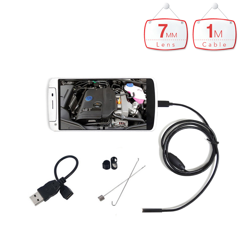 Hanheld 1m Android Endoscope with 7mm Cable 6LED Waterproof Lens HD micro Camera Inspection Borescope for Android Phone Tablet(China)