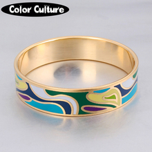 New Elegant Classic Color Design16mm Width Big Enamel Charms Bracelet Bangles Fashion Stripe Design Jewelry(China)
