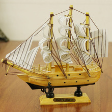 2017 New Wooden Ship Model Miniature Marine Wood SailBoat Wooden Sailing Ship Nautical Decor Home Crafts(China)