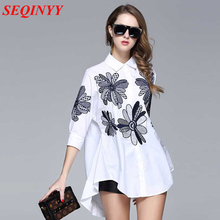 Casual Fashion Shirt Women Spring Summer 2017 3/4 Sleeve Sunflower Embroidery Blue White Turn Down Collar Irregular Brief Shirt