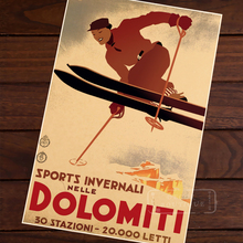Ski in Dolomiti Skiing Vintage Retro Decorative Poster DIY Wall Home Bar Posters Home Decor Gift(China)