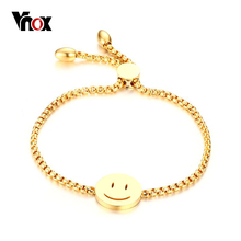 Vnox Smile Face Lucky Women Charm Bracelet Gold-color Adjustable Length Chain Bracelets for Women Party Wedding Jewelry(China)