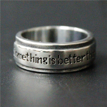 Cool Band Something is better than Nothing Diary Ring 316L Stainless Steel Jewelry Biker Ring Women Mens Silver Hopeful Ring