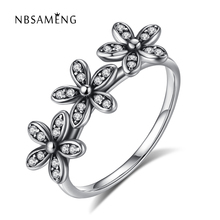 Authentic 925 Sterling Silver Dazzling Daisy Stackable Three Sparkling Daisy Flowers CZ Crystal Wedding Rings Women Jewelry(China)