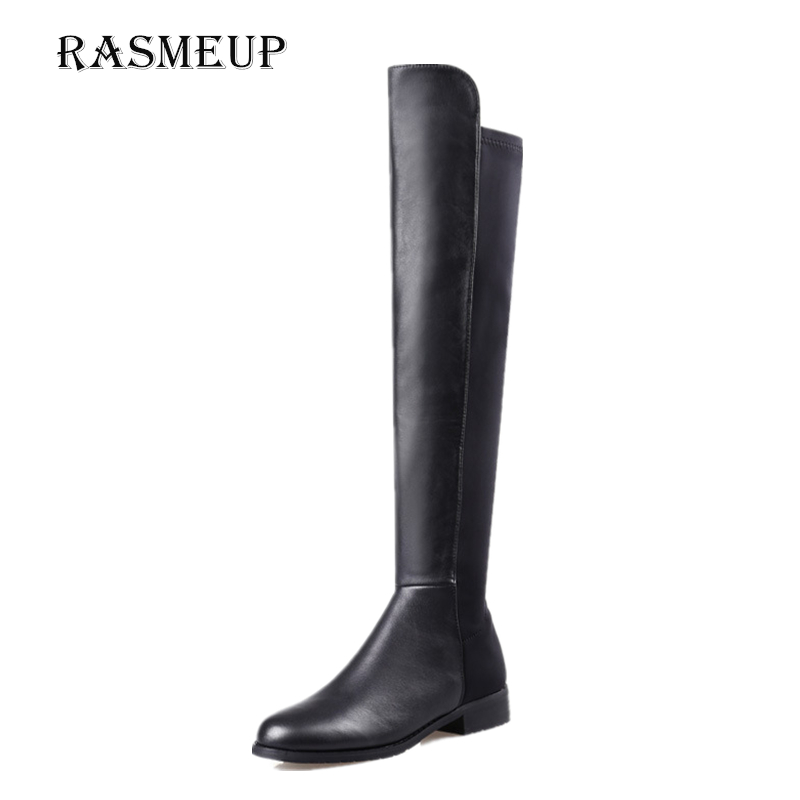 RASMEUP Women Over Knee High Boots Genuine Leather + Elastic Fabric Winter Womens Short Plush Long Boots Zipper Woman Shoes<br>