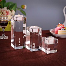 Clear Quartz Crystal Cube Tealight Candle Holder Glass Tealight Holders For Wedding Candelabra Centerpieces(China)
