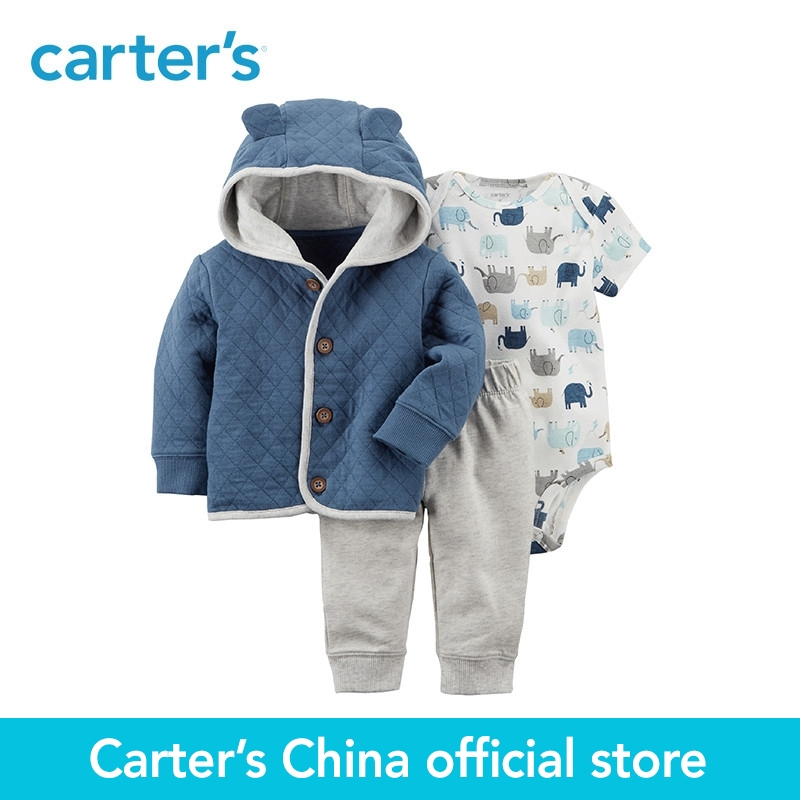 Carters 3-Piece baby children kids clothing Boy Spring Elephant Little Cardigan Set 127G894<br>