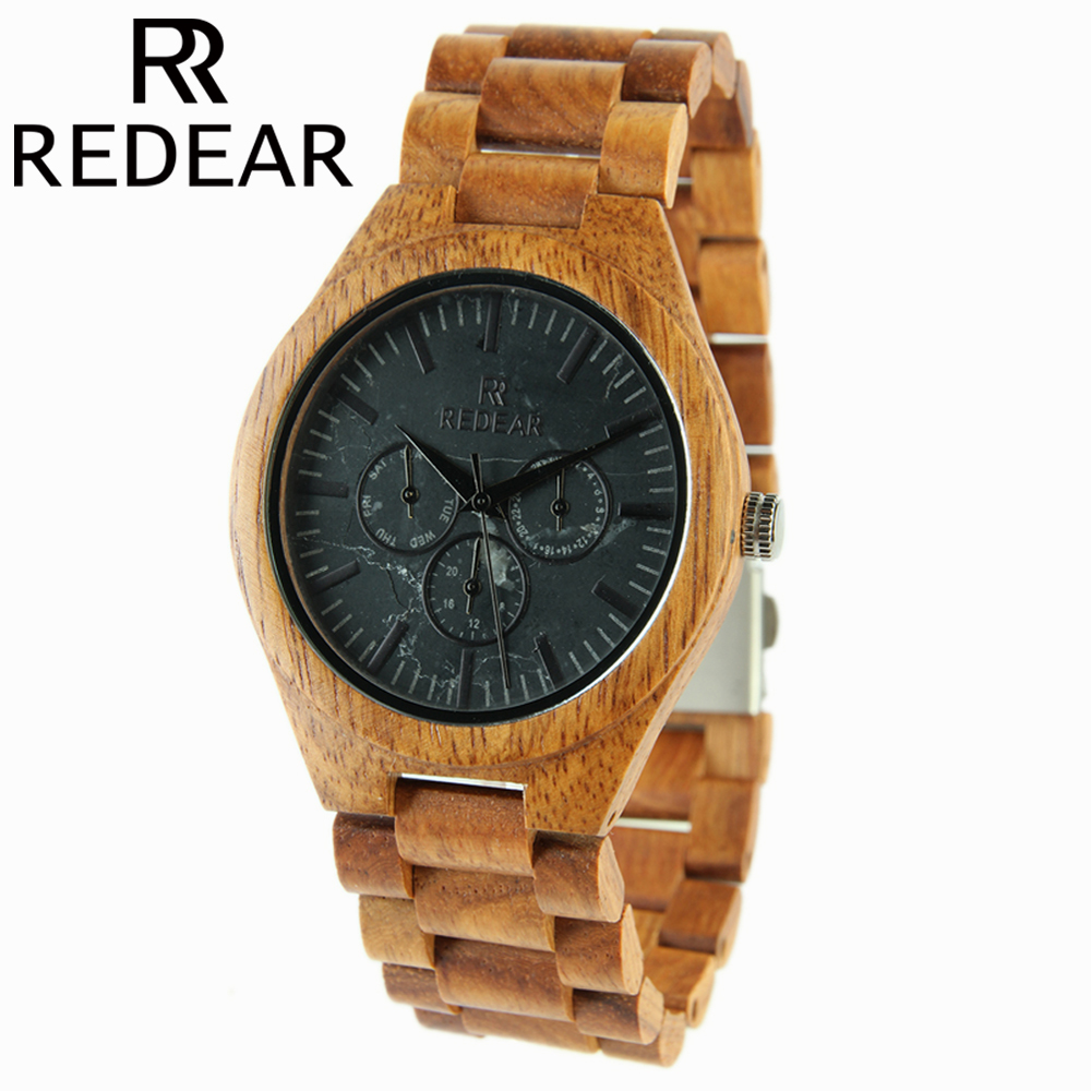 REDEAR Wooden Watch for Men All Natural Bamboo Wood Watch Mens Watches 2017 Top Brand Luxury Relogio Masculino for Gift<br>