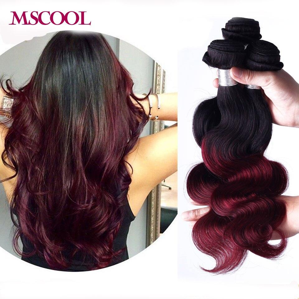 Red Ombre Brazilian Virgin Hair Weave Bundles 1pcs Colored Virgin Brazilian Burgundy Ombre Hair 8A Remy Human Hair Body Wave<br><br>Aliexpress