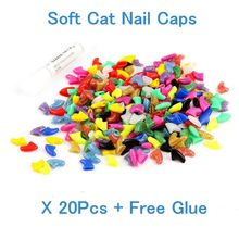 Cat nail tools 20pcs Soft Cat Pet Nail Caps Claw Paws control off+1 pcs Adhesive Glue Size XS S M L 18 Colors gatos pet products(China)