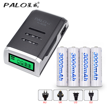 4 Slots LCD display Smart battery Charger for AA / AAA Batteries + 4 pcs AA 3000mah nimh rechargeable batteries