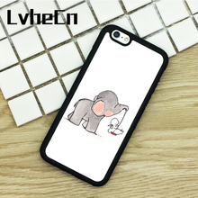 LvheCn TPU Phone Cases For iPhone 6 6S 7 8 Plus X 5 5S 5C SE 4 4S ipod touch 4 5 6 Cover CUTE ELEPHANT & BUNNY SWING Black(China)