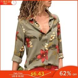 Женская блуза с цветочным принтом, длинным рукавом и отложным воротником