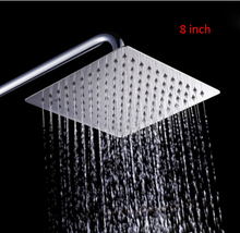 "Hot Sale 8"" Stainless Steel Ultra thin shower head Rainfall Shower Heads Square Bathroom Rainfall shower(China)"