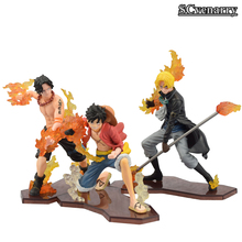 One Piece ATTACK STYLING Luffy & Ace & Sabo 3 brother PVC Action Figure Toys Dolls 3pcs/set 9-11cm