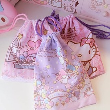 My Melody Gemini Tote,Hello Kitty Jewelery Pouch, Cell Phone Pocket, Drawstring Storage Bag, Travel Finishing Bag Storage Bag