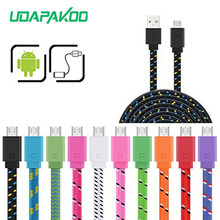 Original quality 1M/2M/3M Braided Flat Nylon Micro USB Date Sync Charging Cable Cords for Samsung Galaxy S3 S4 S6 S7 HTC LG Sony