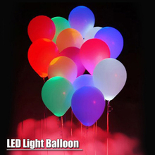 5pcs/lot 12 Inch LED Light Latex air balloon Multicolor Helium Ballon Wedding Room Decor birthday Party supplies