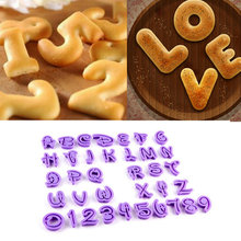 NEW ARRIVAL 36 pcs English Letter Font Alphabet Cookie Cutter Number Cookie Cutter Set Cake Tool Decorating Fondant Mold Hot(China)