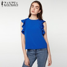 Buy ZANZEA Elegant Women Summer Sleeveless Casual Solid Blouse Tops Fashion Ruffles Sleeves O Neck Blouses Blusas Plus Size Shirts for $6.99 in AliExpress store