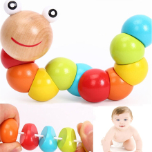 Cute Insert Puzzle Educational Wooden Baby Toys Children Fingers Flexible Training Science Twisting Worm Toy(China)