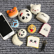 10pcs/Lot Cell Phone case Decoration Random Squishy Slow Rising Soft Panda Bread Cake ice Cream Phone Straps Pendant Kids Gift(China)