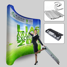 10ft portable curved tension fabric trade show display exhibition pop up stand banner booth exhibits custom graphic printing