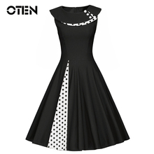 Buy OTEN Women Clothing Summer Sleeveless Polka Dots Vintage Retro pin casual skater gowns Tunic dress party vestidos Plus size for $16.19 in AliExpress store