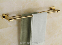 Luxury Golden Polished Solid Brass 50cm Bath Towel Bars Holders Dual Bars Wall Mount