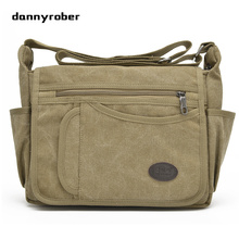 DANNYROBER Unisex Canvas Shoulder Messenger Bags Leisure Multi Pockets Durable Practical Large Capacity Travel Bags New 2017(China)