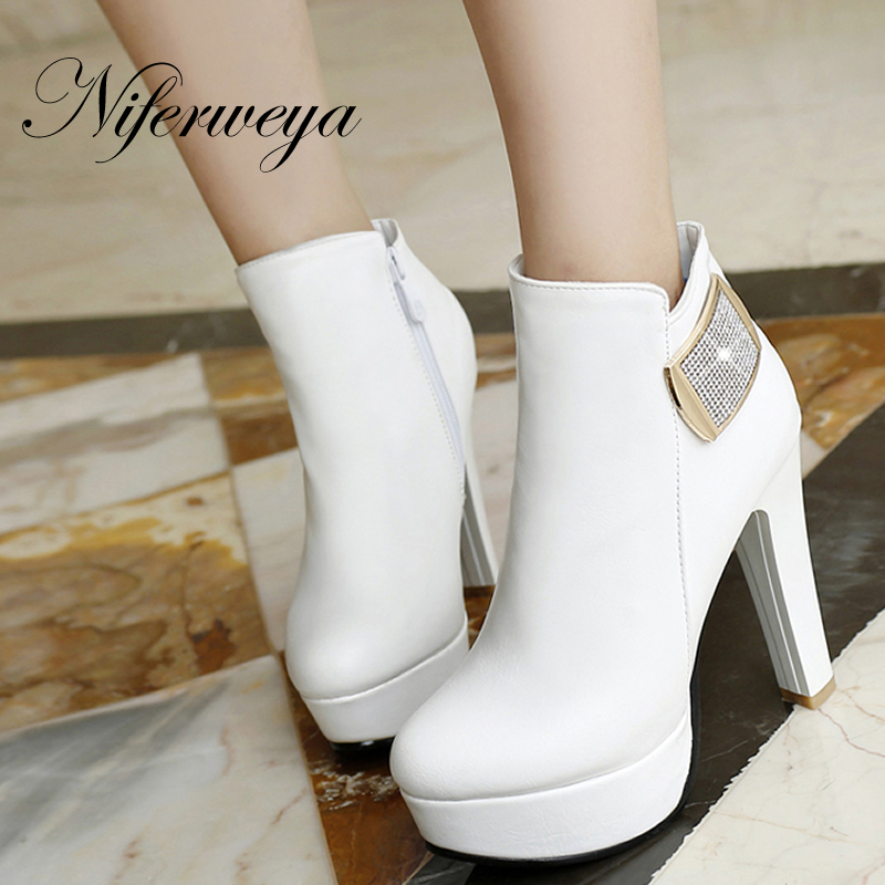 2016 New fashion winter ladies boots big size 33-43 Solid PU leather Platform high heels Round Toe women Ankle boots QZX-199-2<br>