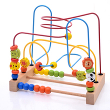 Wooden Cartoon Animals Circle Bead Maze Roller Coaster Toy for Early Educational Children Training ship form Russia