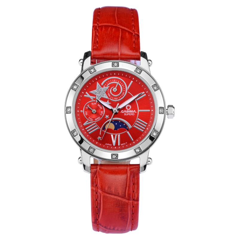 Fashion luxury Brand watches women  casual diamond crystal multi-function table quartz watch Lady waterproof 50mCASIMA#2801<br>