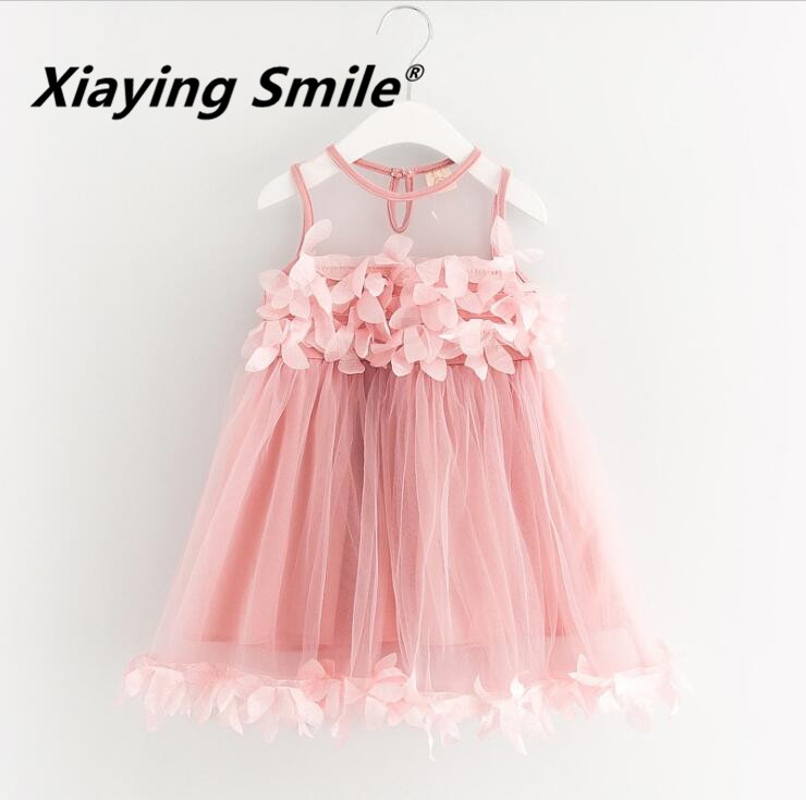 Girls Dress Summer Little Princess Ruffles Dress Mesh Voile Kid Clothes Sweet Flower Fashion Casual Children Clothing<br>