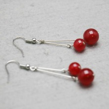 Sweet Classic Popular Red Chalcedony Crystal beads Natural stone Cherry Earrings Earbob Eardrop for women girls ladies jewelry(China)