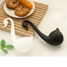 Swan Tea Infuser 1Pcs Cute Tea Strainer Colander Teaspoon Filter Nolvety Tea Balls Plastic Tea Tools Black White Color
