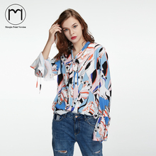 Margin Spring Streetwear High Street Choker Flare Long Sleeve Women Tops Chiffon Shirt Blouses Ladies Casual chemisier femme(China)