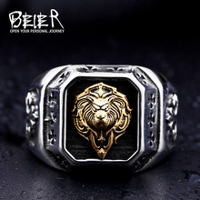 Beier new store 316L Stainless Steel ring top quality Gold Lion Head Rings fashion Jewelry BR8-389(China)