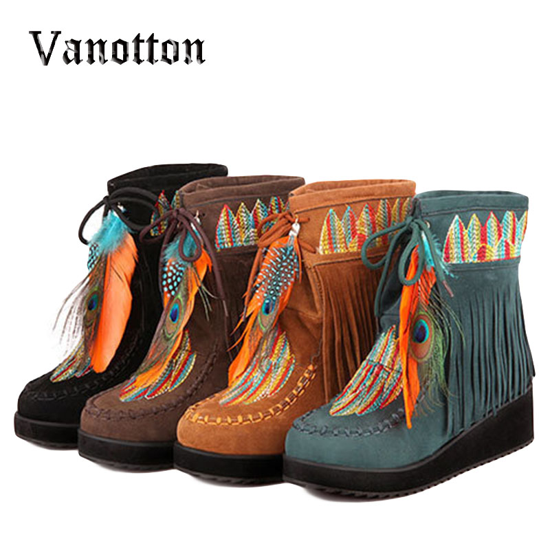 Indian Style Retro Fringe Boots Flock Chunky Feather Women Ankle Short Boots Tassels Big Size Shoes Plus Size 34-43<br><br>Aliexpress