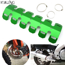 Off-road Exhaust Muffler Pipe Guard Protector Heat Shield For Kawasaki KX KLX KFX KDX 65 80 85 125 250 250 450 450 150 F/R/S(China)
