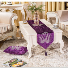 2016 New Table Runner Simplicity Europe of Type Style Swan Purple Runner Christmas Printed Polyester Glitter Stone Luxury