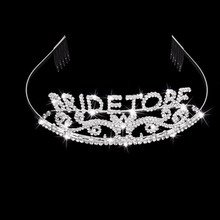 Glitter Bride to Be set Bachelorette Party Decoration Gift Wedding Bridal Shower Hen Party Supplies Metal Rhinestone Tiara Crown(China)