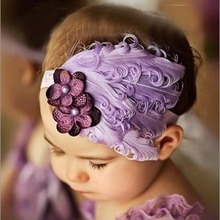 Drop shipping New Flower Cotton  Hairbands Girls Headband Cute Hairband  Light Purple Feather Hair Accessories #LSIN